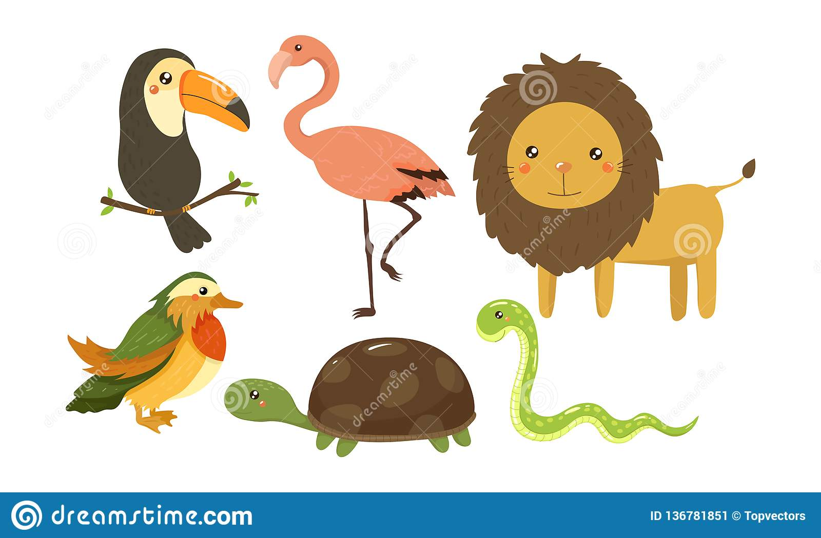 Flat Vector Set Of Cute Jungle Animals And Birds African