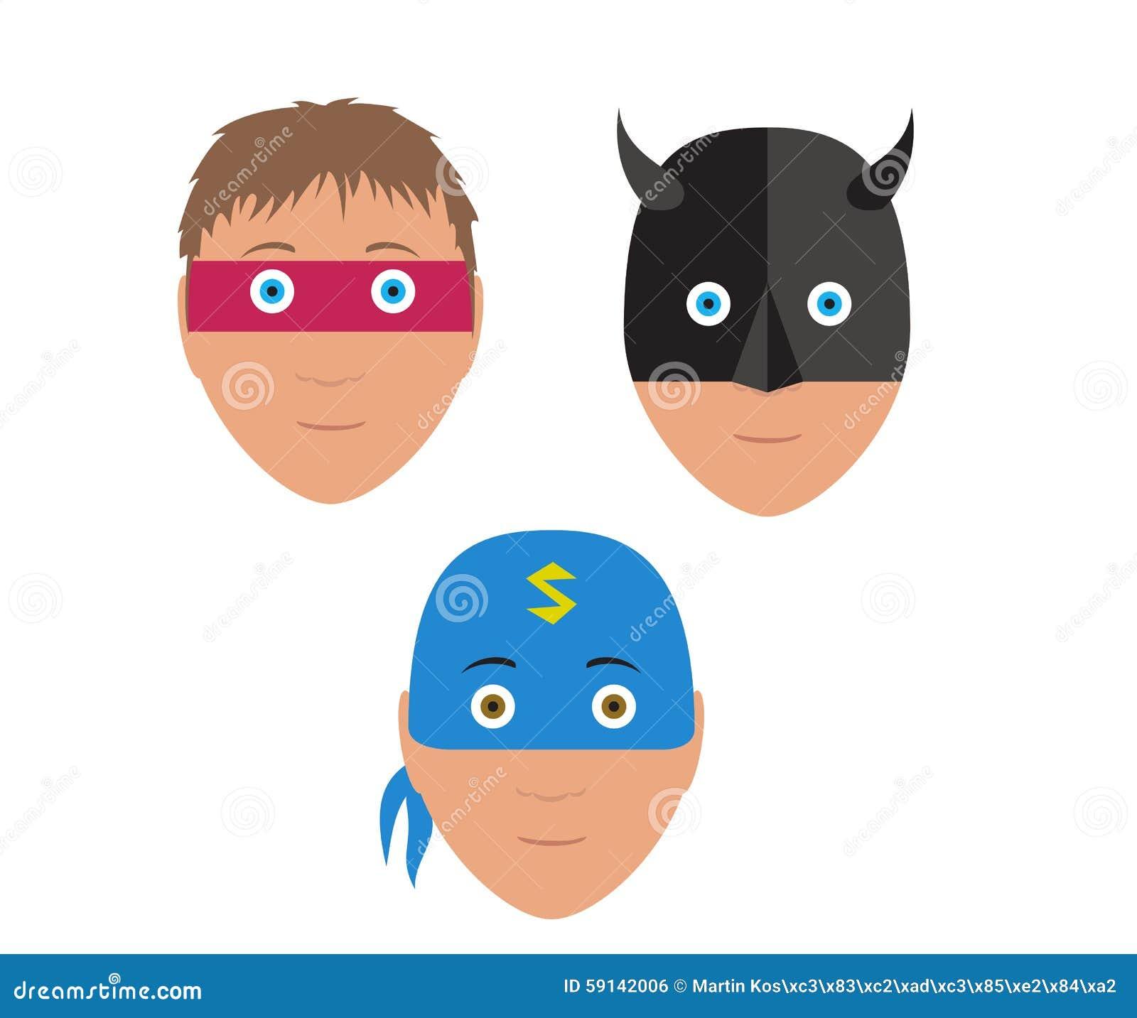 Flat Vector Set Design Of Cartoon Halloween Mask Stock Vector ...