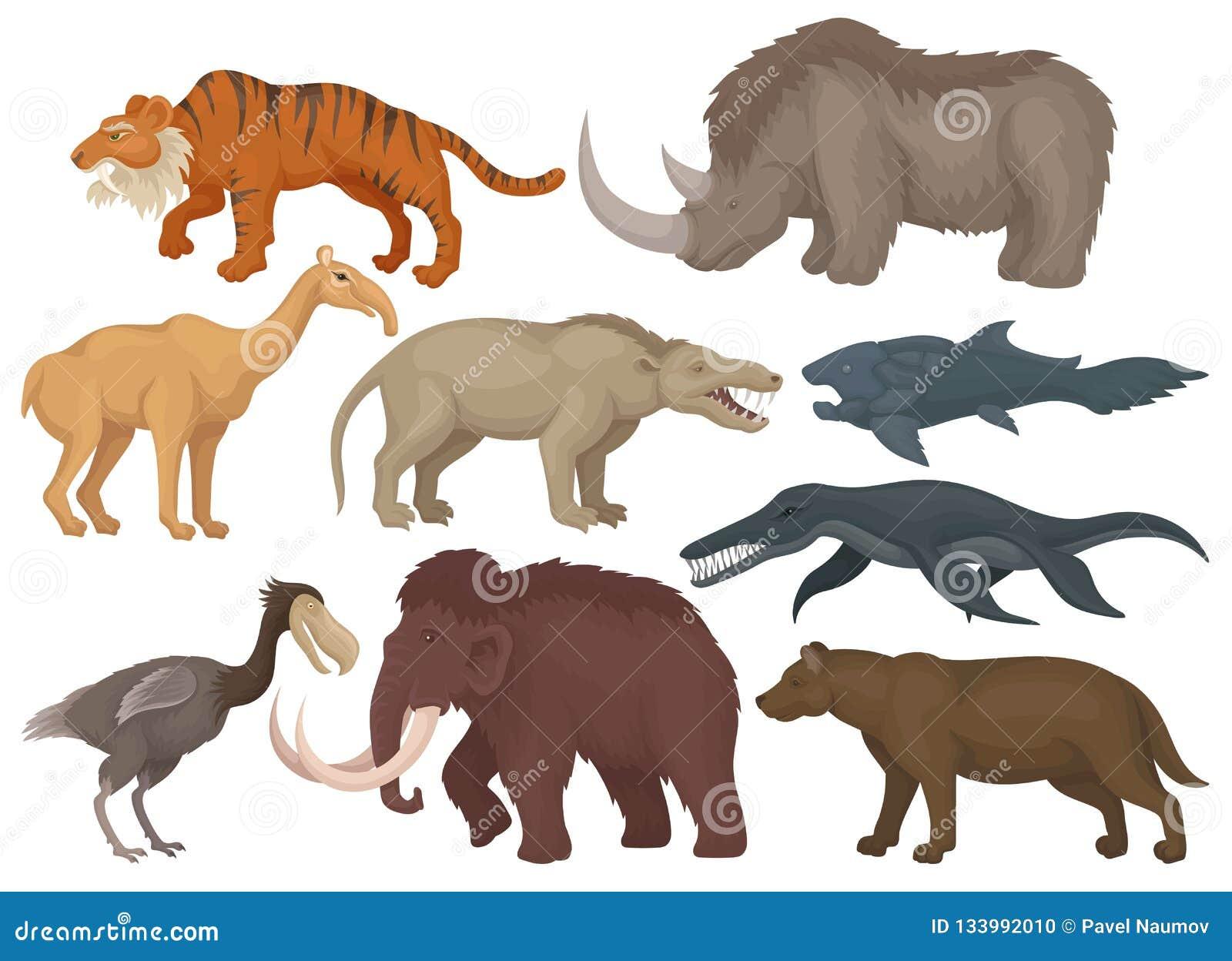 Flat Vector Set Of Different Extinct Prehistoric Animals