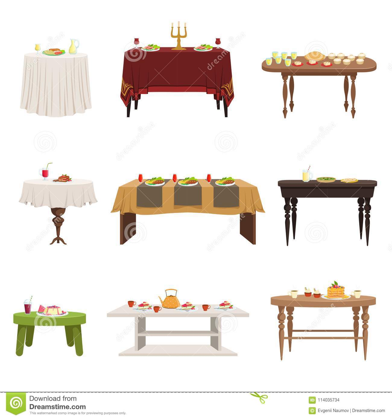 Flat Vector Set Of Different Types Of Dining Tables With Served Food And  Drinks. Kitchen