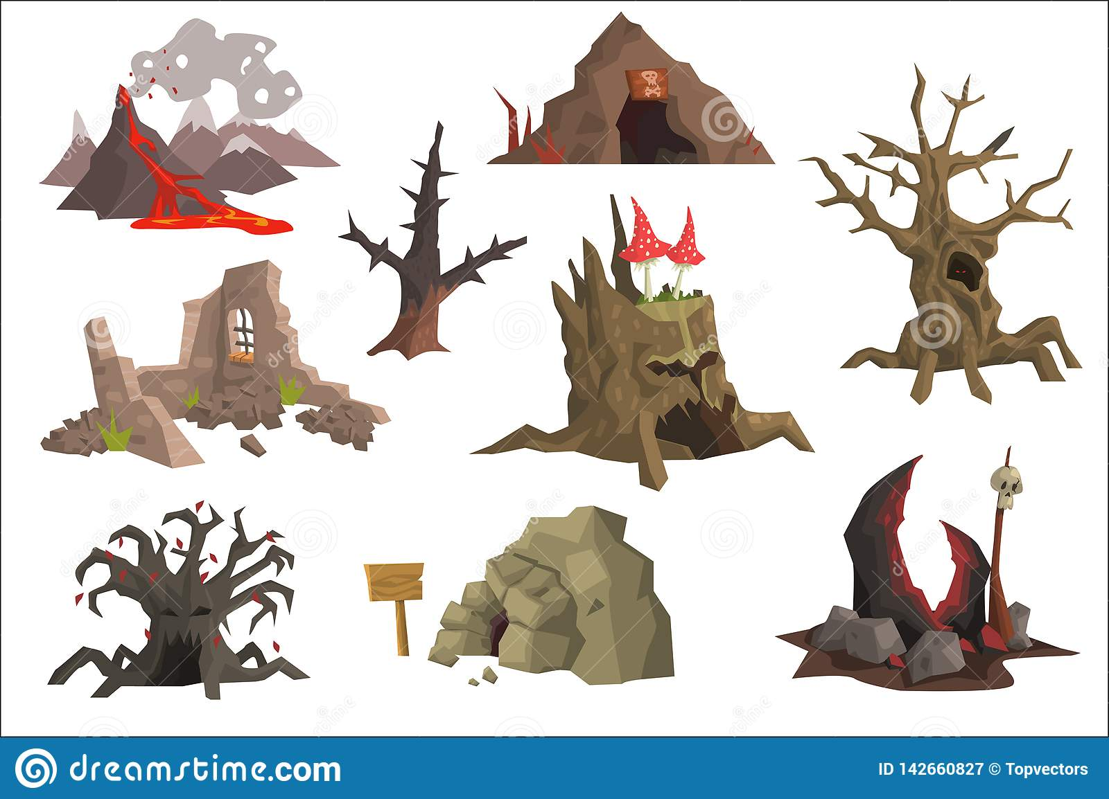 Flat vector set of landscape elements. Volcano with hot lava, ruins, swamp, old trees, cave, scary stump with mushrooms