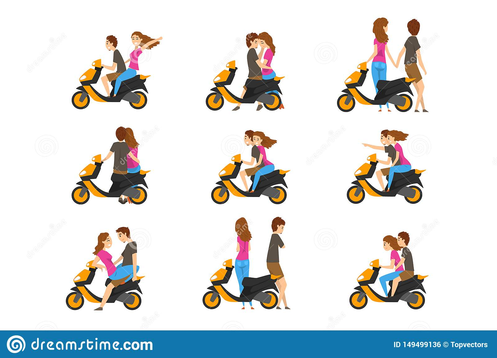 Flat vector set with loving couple and scooter. Young girl and guy with different emotions. Cartoon people character