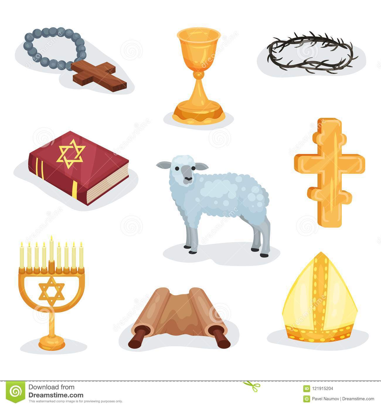 Flat Vector Set Of Religious Symbols And Objects Jewish Prayer Book