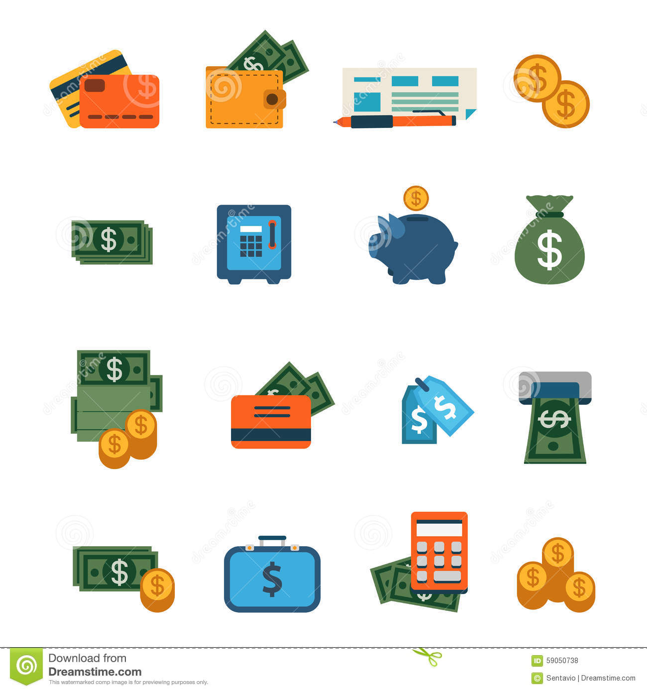 No Credit Check Credit Cards >> Flat Vector Site Interface Icon: Finance, Banking, Dollar, Money Stock Vector - Image: 59050738