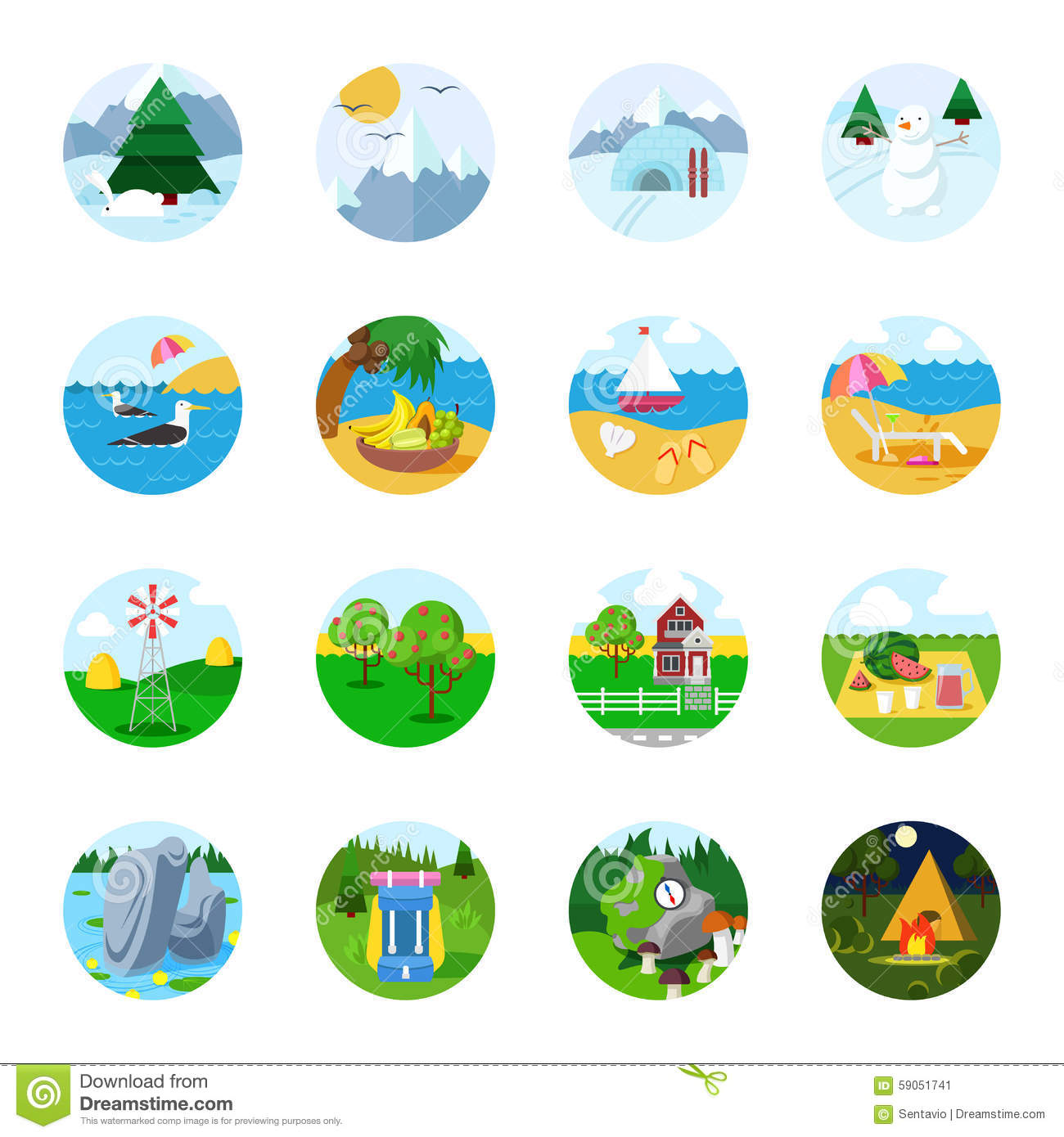 Flat vector travel tourism icon set beach mountain snow sea stock photo image 59051741 - Autumn plowing time all set for winter ...