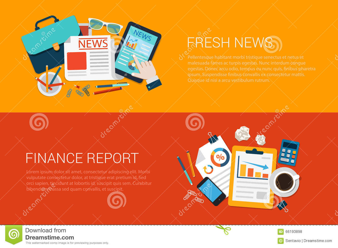 flat vector web banners collage fresh news online finance report