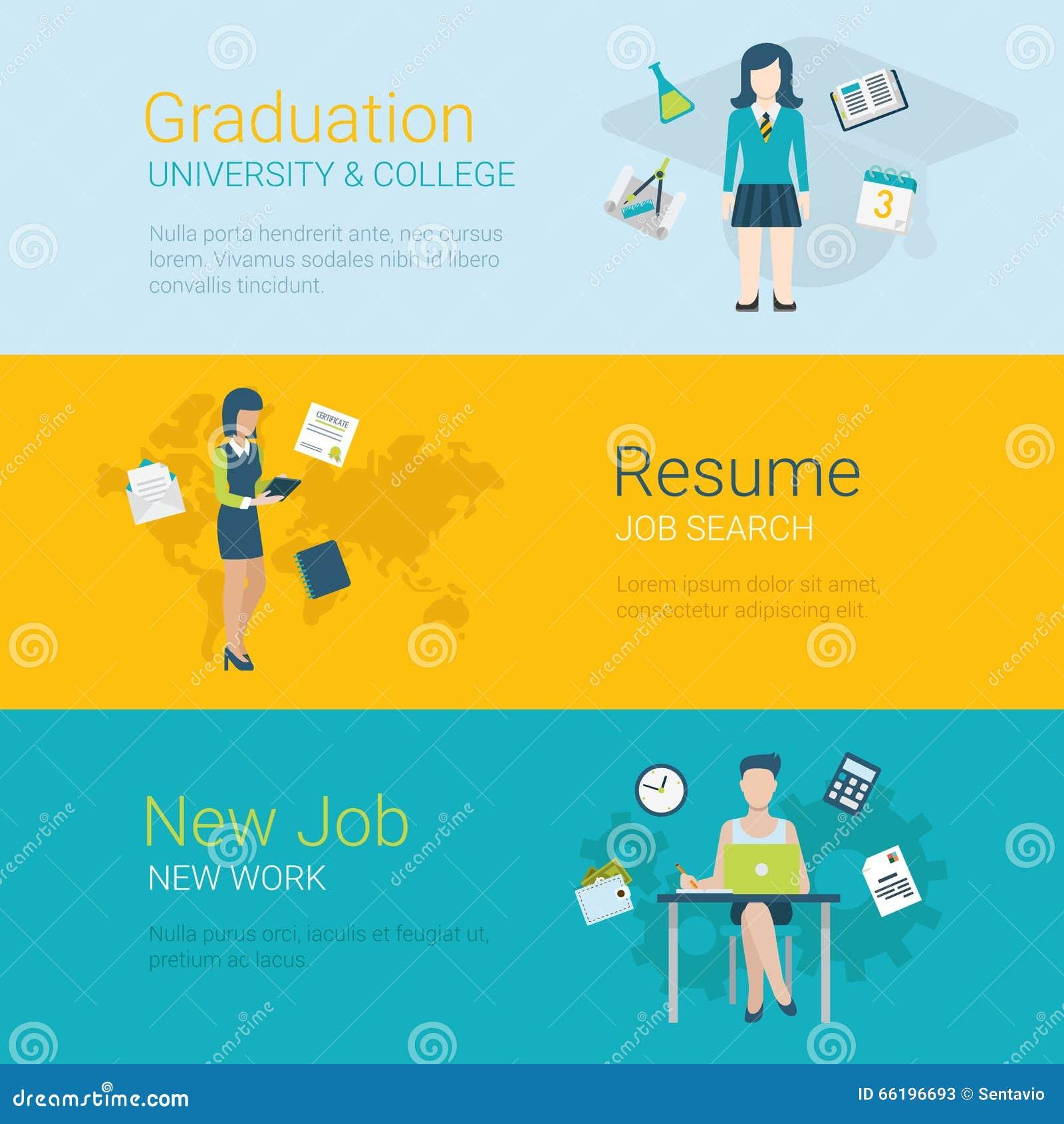 Flat Vector Website Slider Banner Career Graduation University Stock Vector Illustration Of Banner Concept 66196693