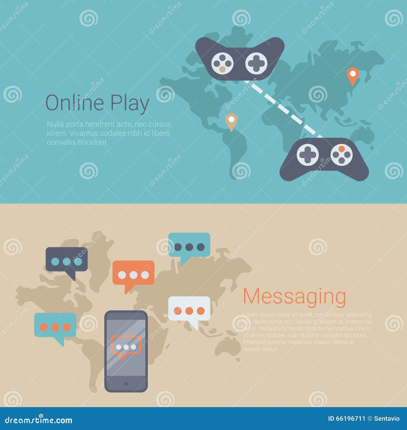Flat vector website slider banner online gaming play world map stock flat vector website slider banner online gaming play world map gumiabroncs Images