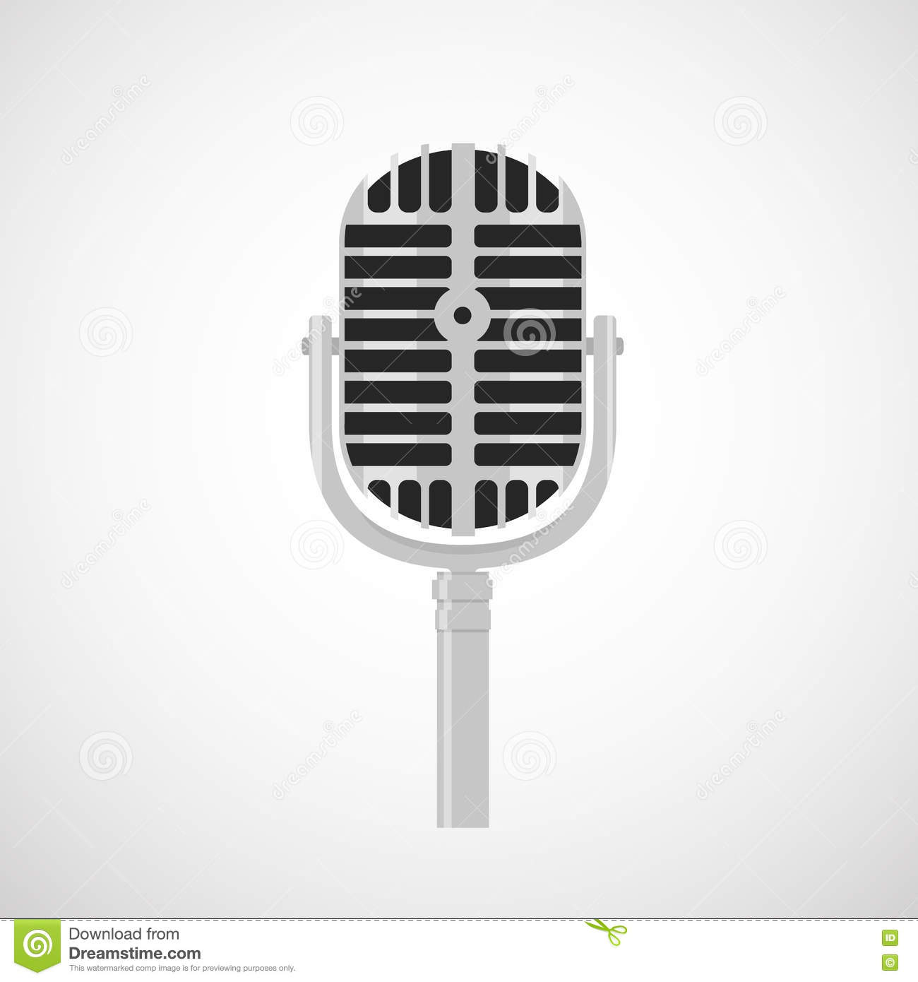 Flat Vintage Microphone Icon Stock Vector - Illustration of ...