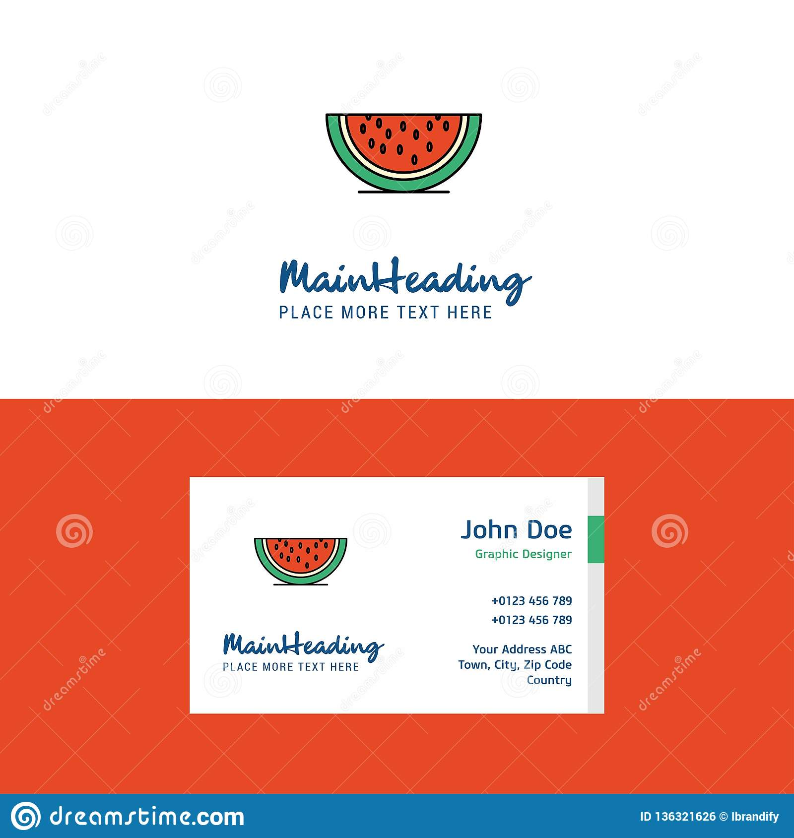 Flat Water melon Logo and Visiting Card Template. Busienss Concept Logo Design