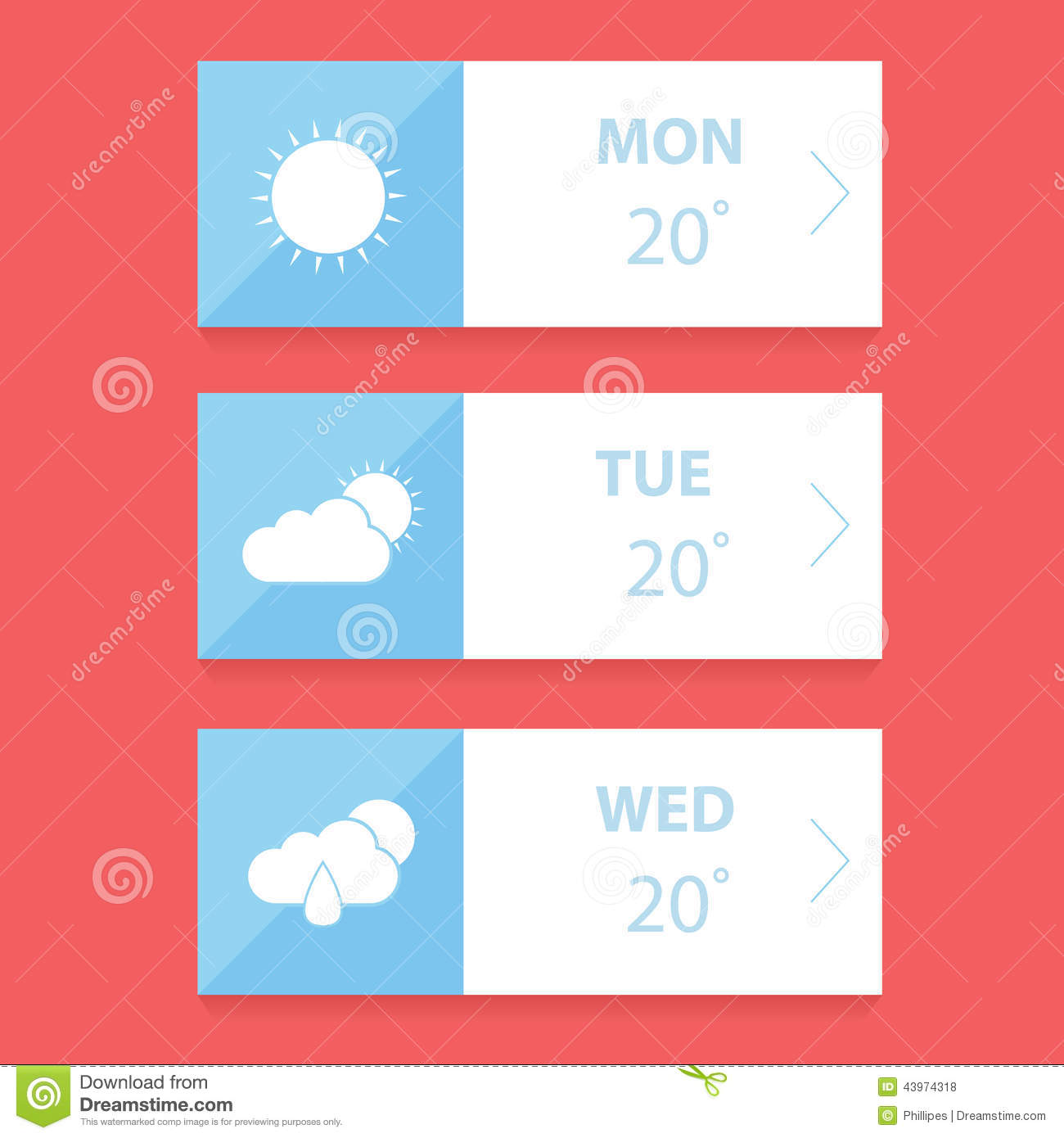 flat weather forecast app design template illustration 43974318