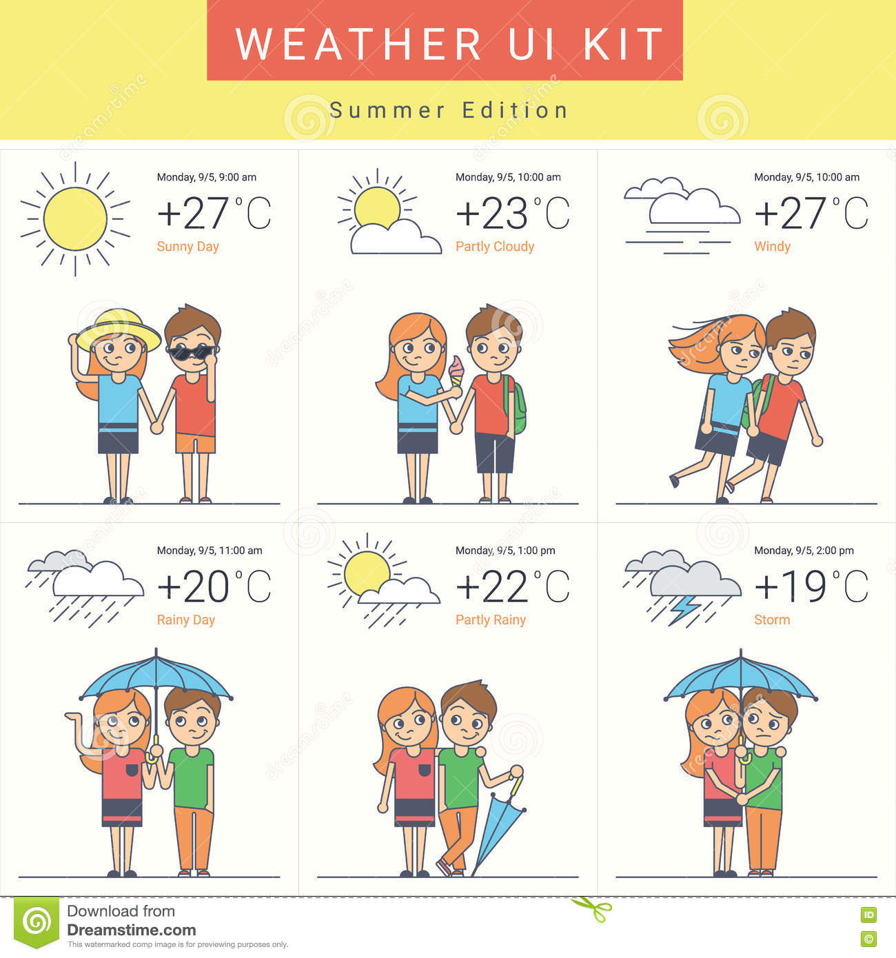 Flat Weather Widgets Set With Cute Couple Stock Vector