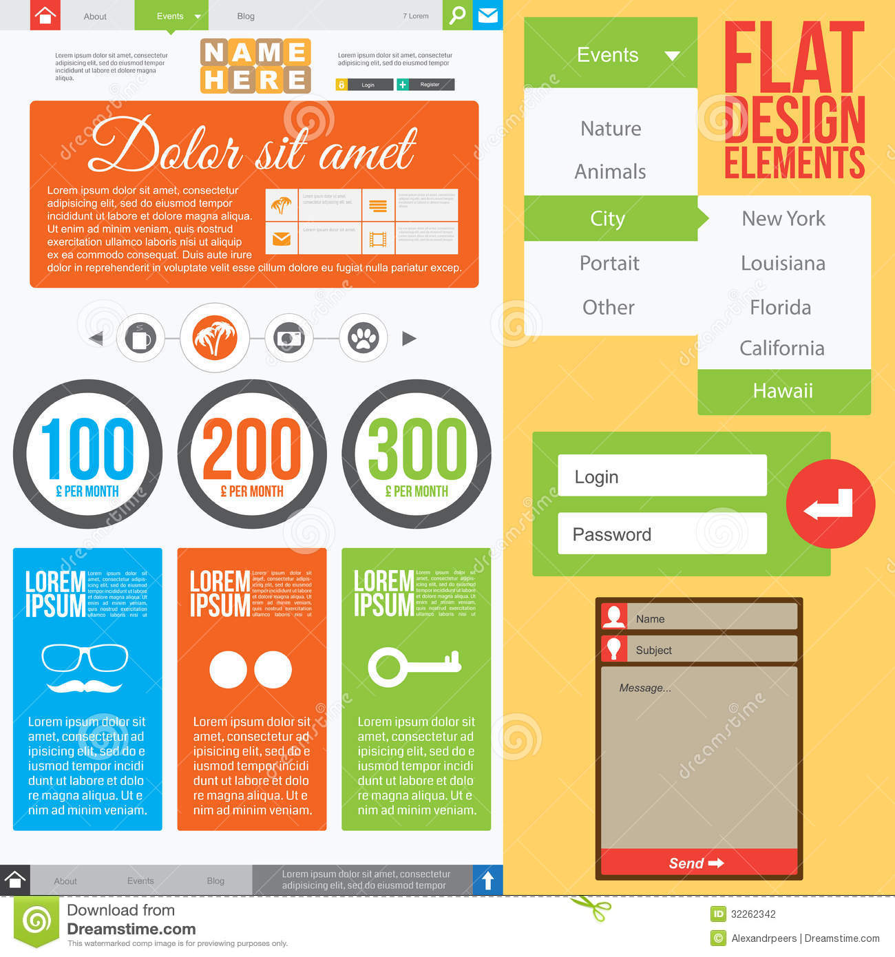 Elements For Design : Flat web design stock vector image of creative