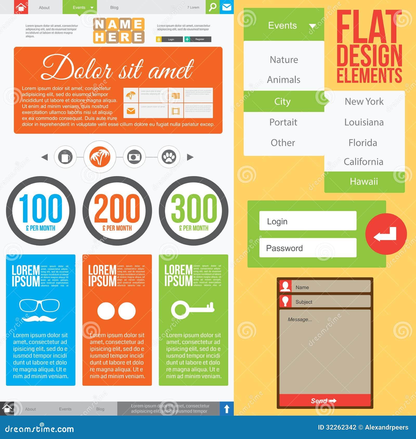 Flat Web Design Stock Photography Image 32262342