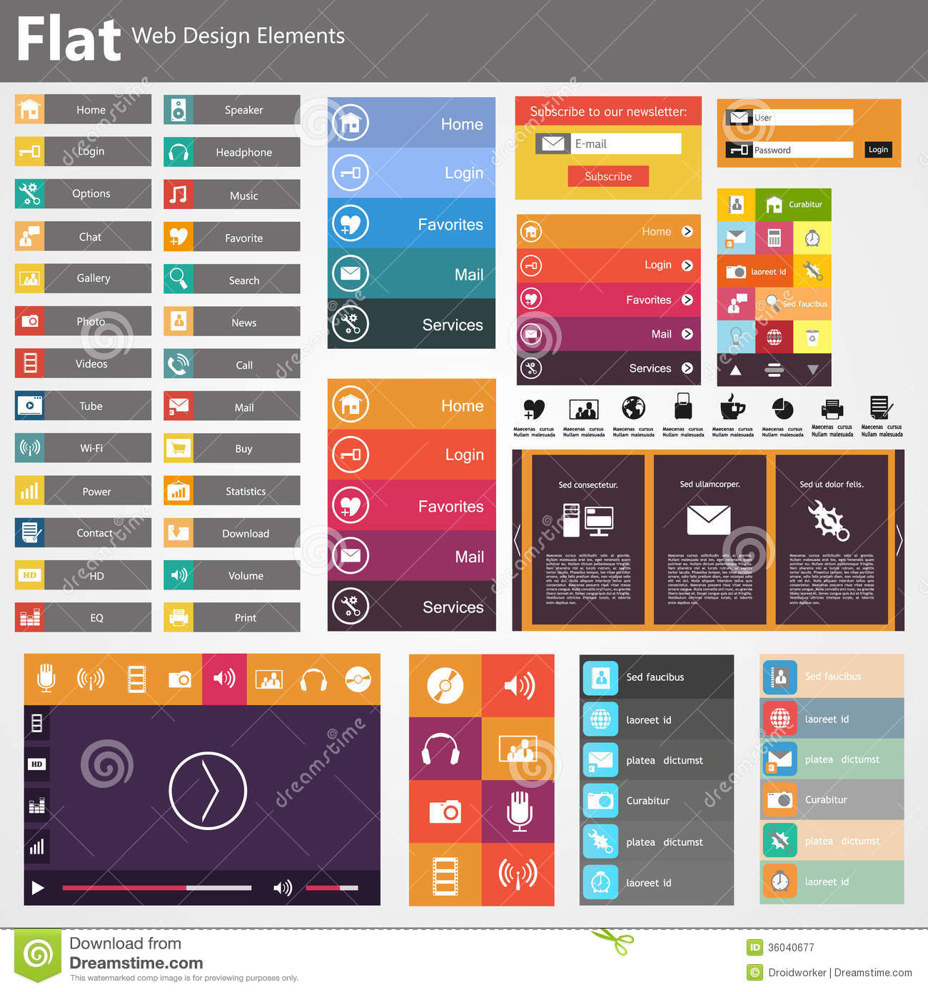 Flat web design elements buttons icons templates for for Create a blueprint online free