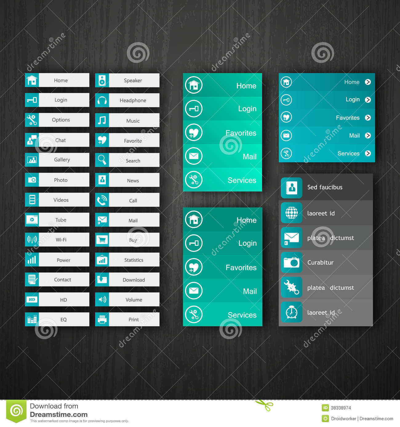 flat web design elements buttons icons templates for website stock