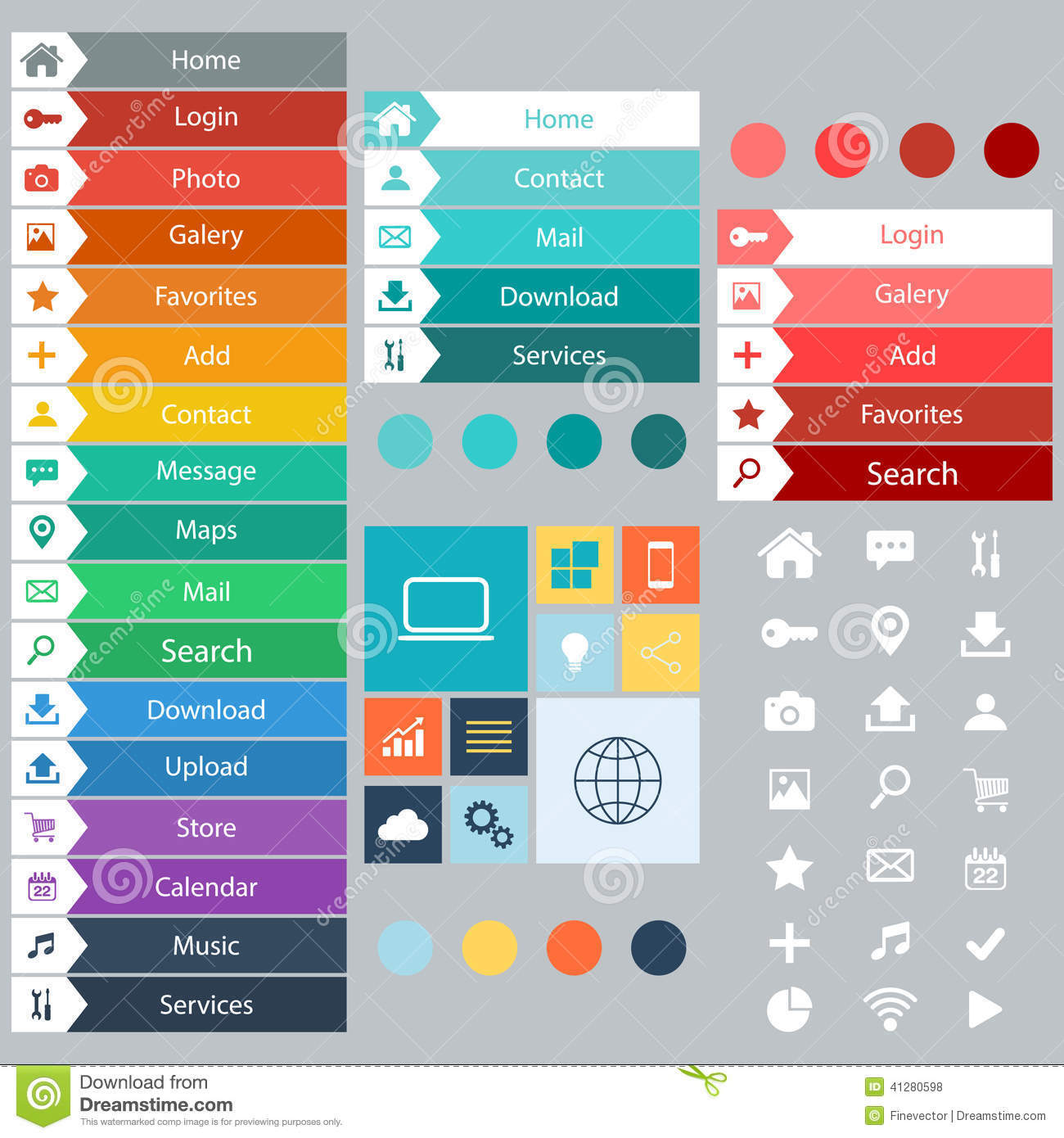 Flat Web Design Elements, Buttons, Icons. Templates For Website ...