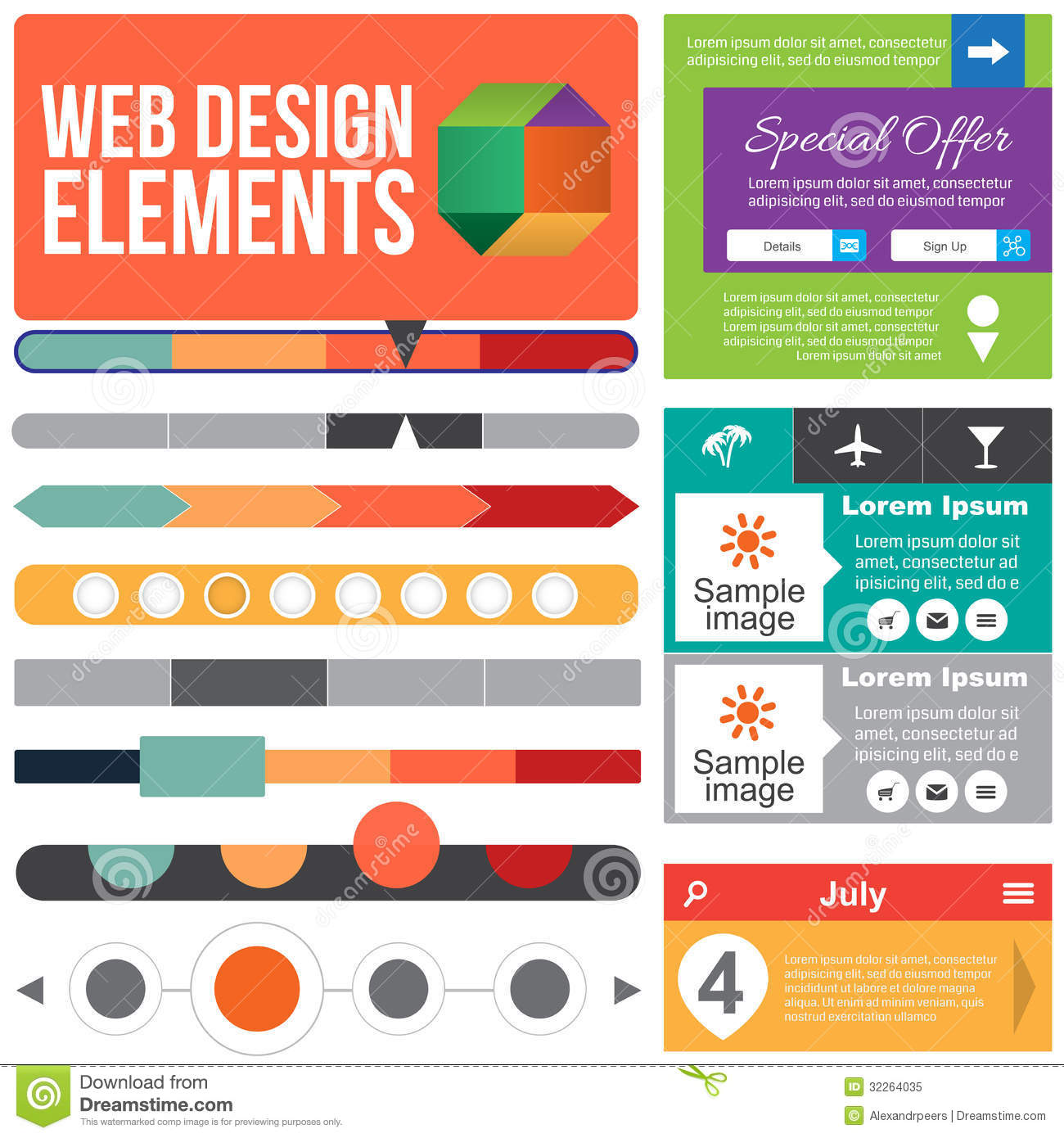 Elements By Design : Flat web design elements royalty free stock photo image