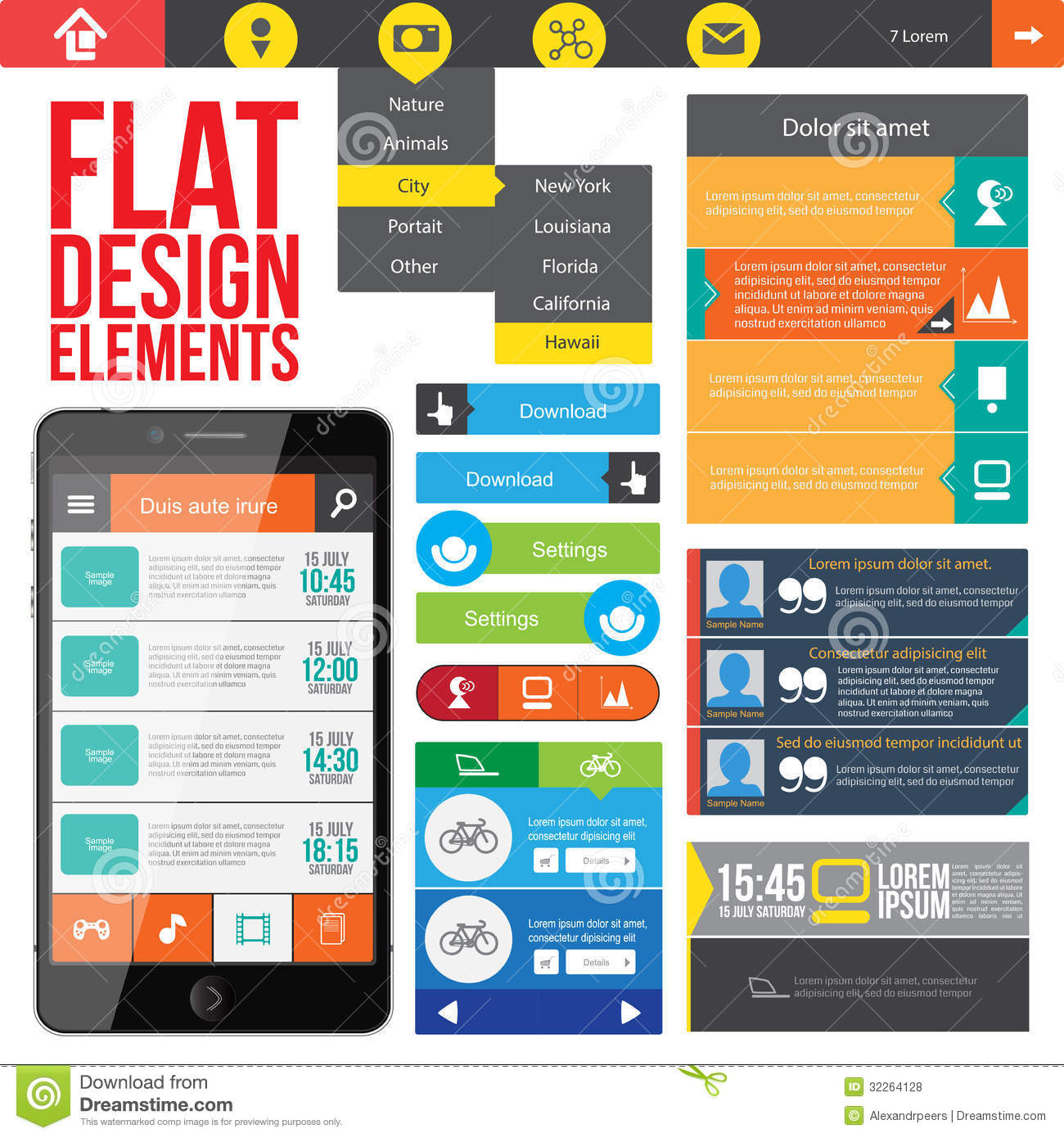 Elements For Design : Flat web design elements royalty free stock photos