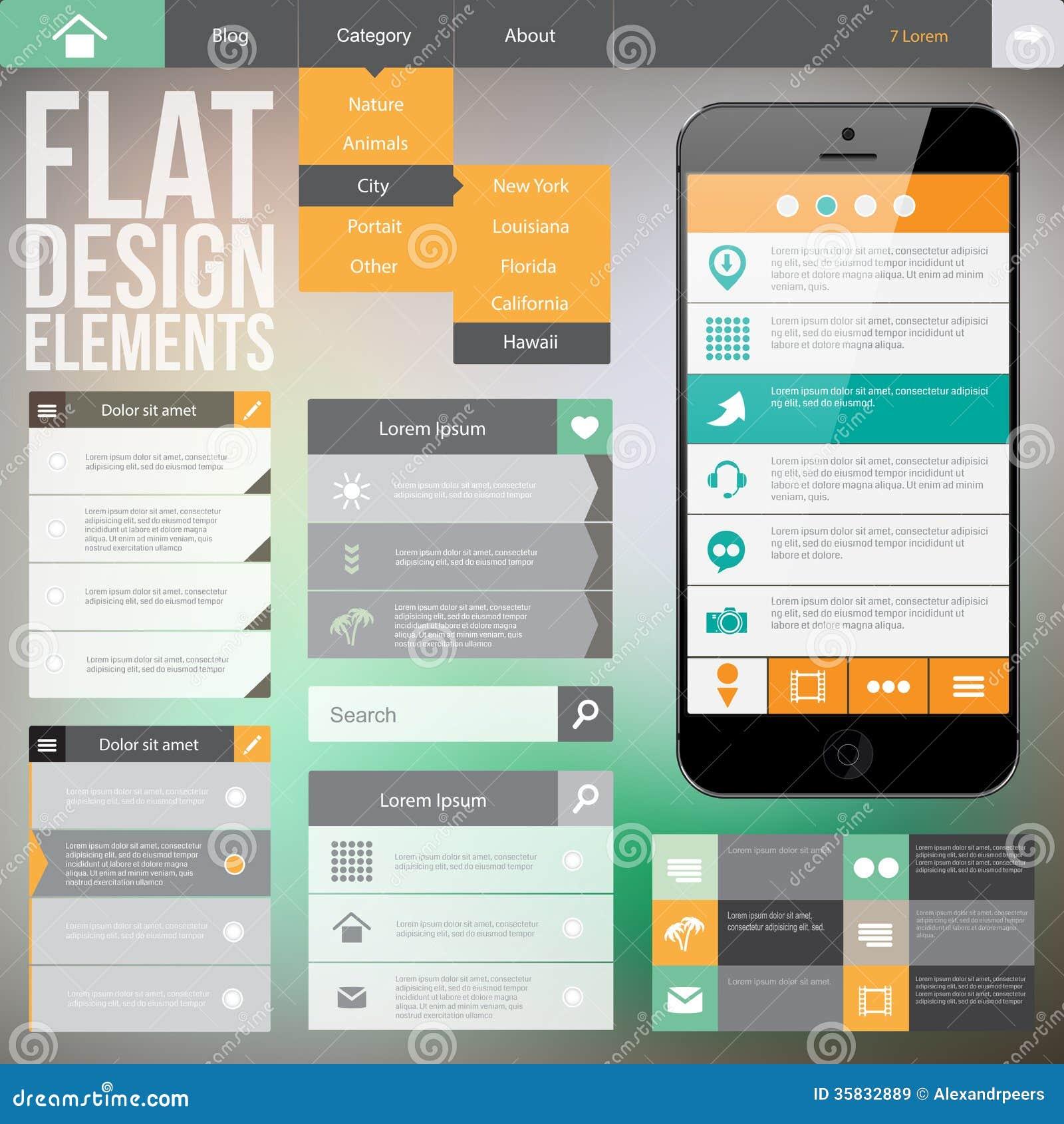 Flat Web Design Stock Illustration Illustration Of Homepage 35832889
