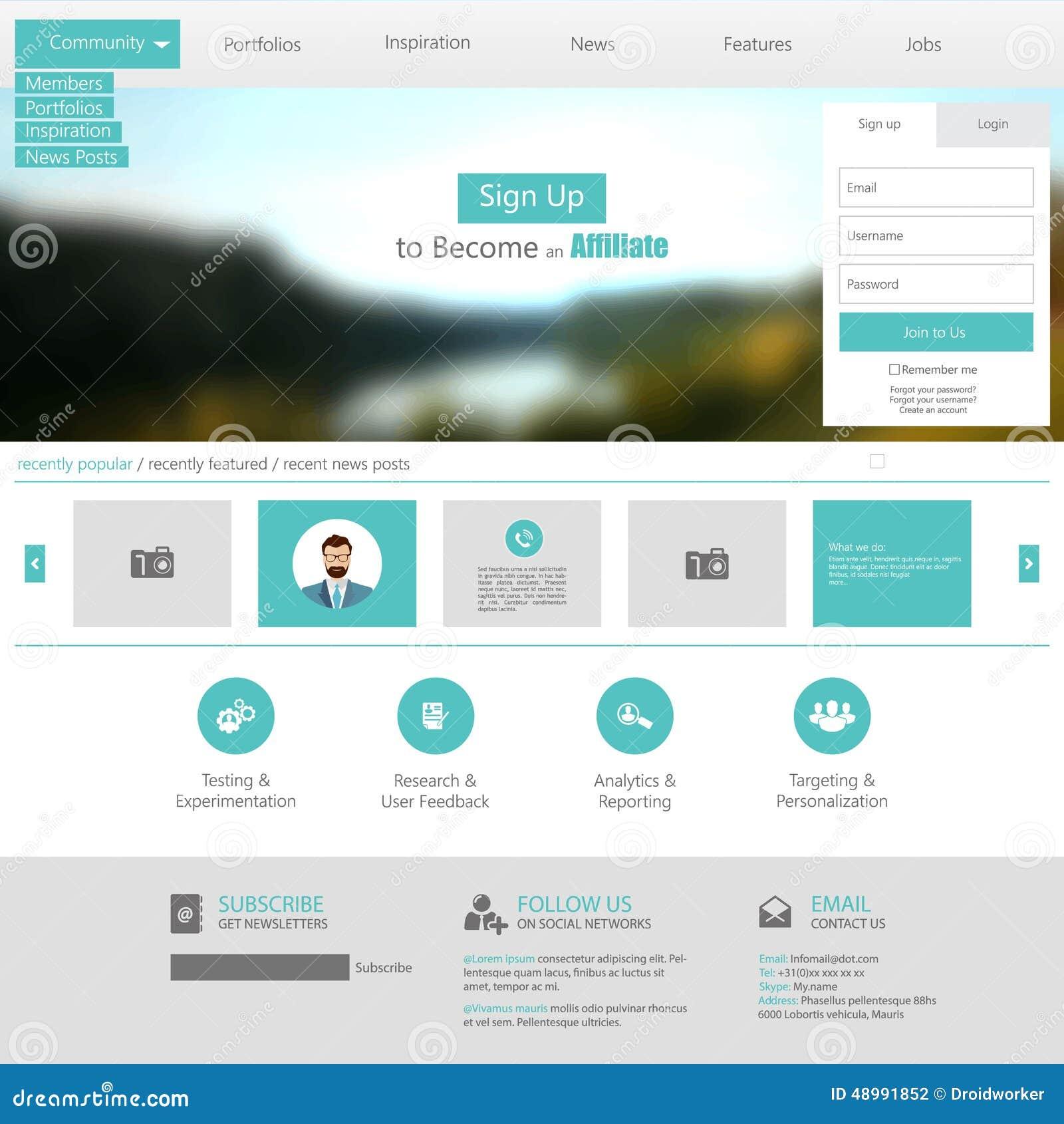 Flat Web Design Elements Templates For Website Stock Vector