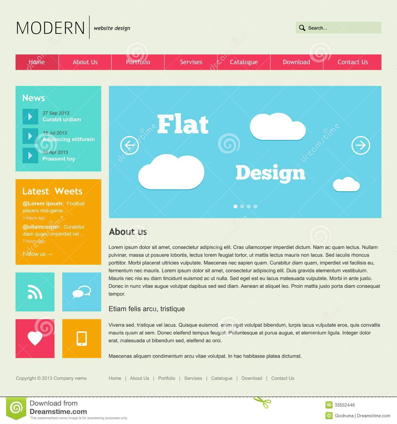 Flat Web Design Templates Free Download Images - Template Design Ideas