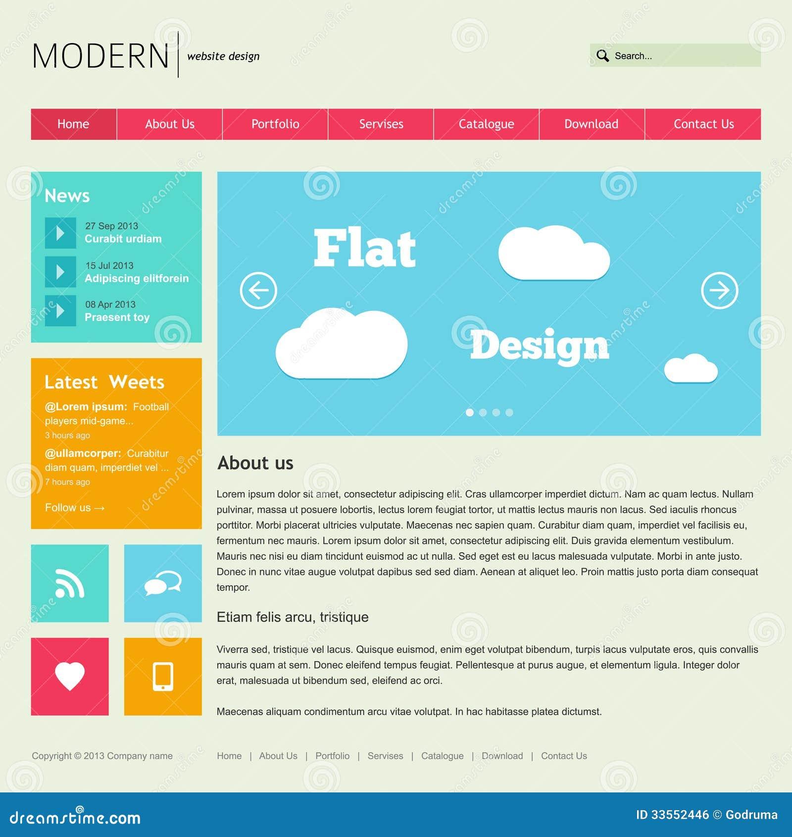flat web design template royalty free stock image image 33552446. Black Bedroom Furniture Sets. Home Design Ideas