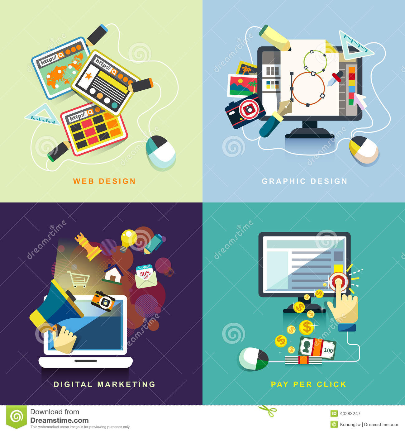 Flat Web And Graphic Design Marketing Pay Per Click Stock Vector Illustration Of Device Banner 40283247
