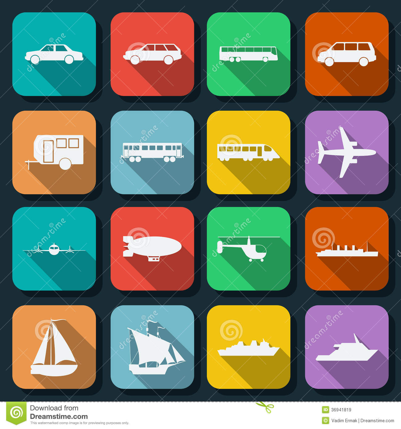 flat web icons vector set transportation 36941819