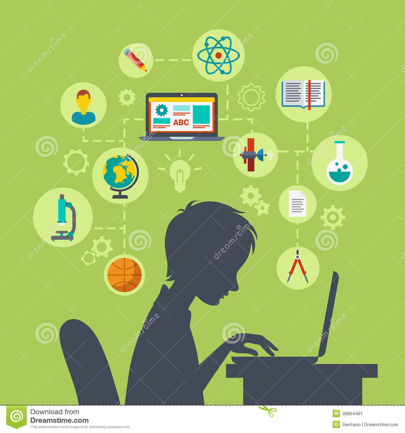Flat Web Infographic E Learning Online Education Concept