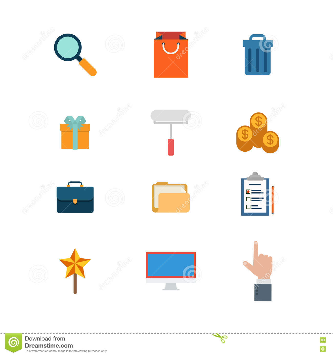 Flat Website Icons: Search Add Shopping Bag Cart Trash Stock Photo ...