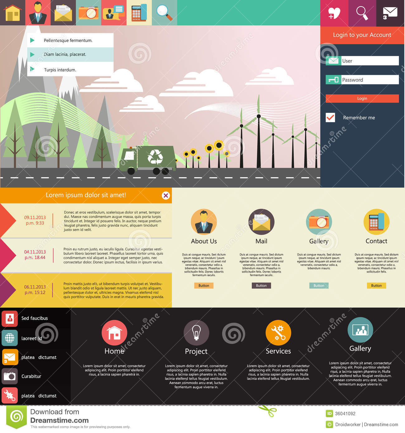 Flat website template design with eco elements stock Architecture site web