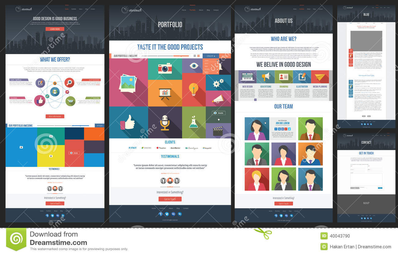 Flat Website Template Homepage Portfolio Abo Stock