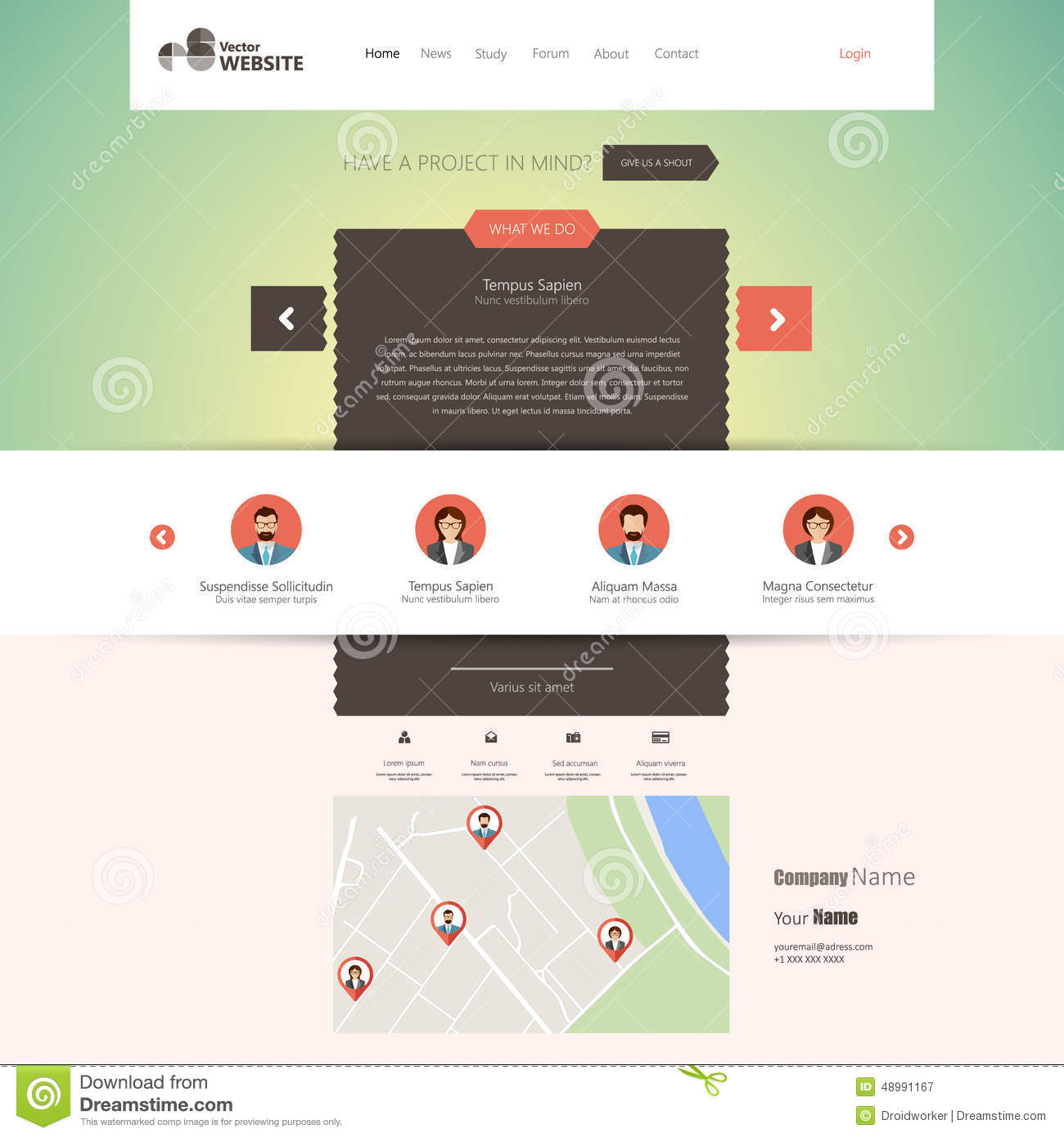 Flat website template (homepage, portfolio, about, contact) stock.