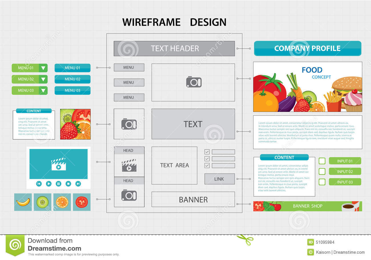 Flat Website Wireframe Template Stock Vector - Image: 51095984