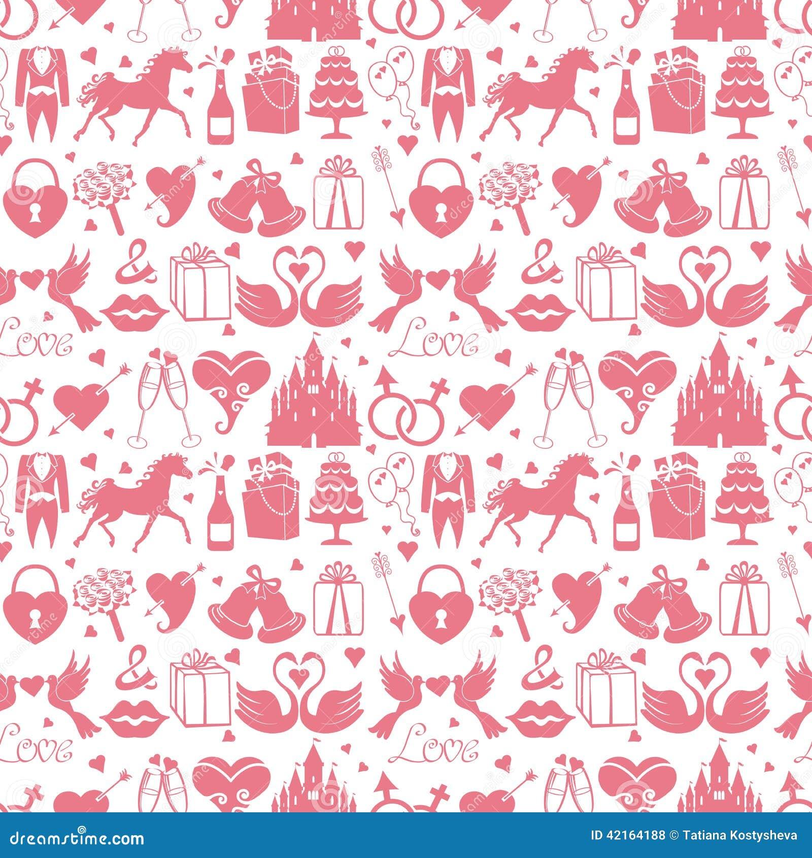Flat Wedding Design Elements In Seamless Pattern Stock