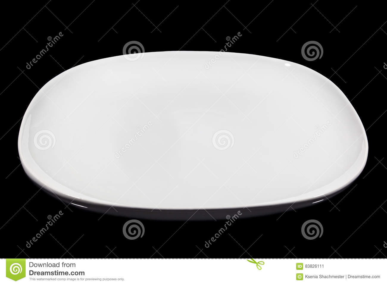 Flat white square plate on black background from side  sc 1 st  Dreamstime.com & Flat White Square Plate On Black Background From Side Stock Image ...