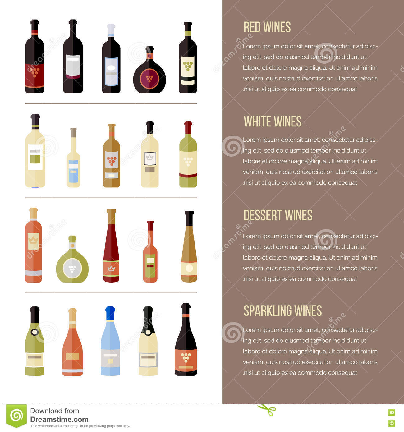 flat wine bottles different kinds of wine template for site menu