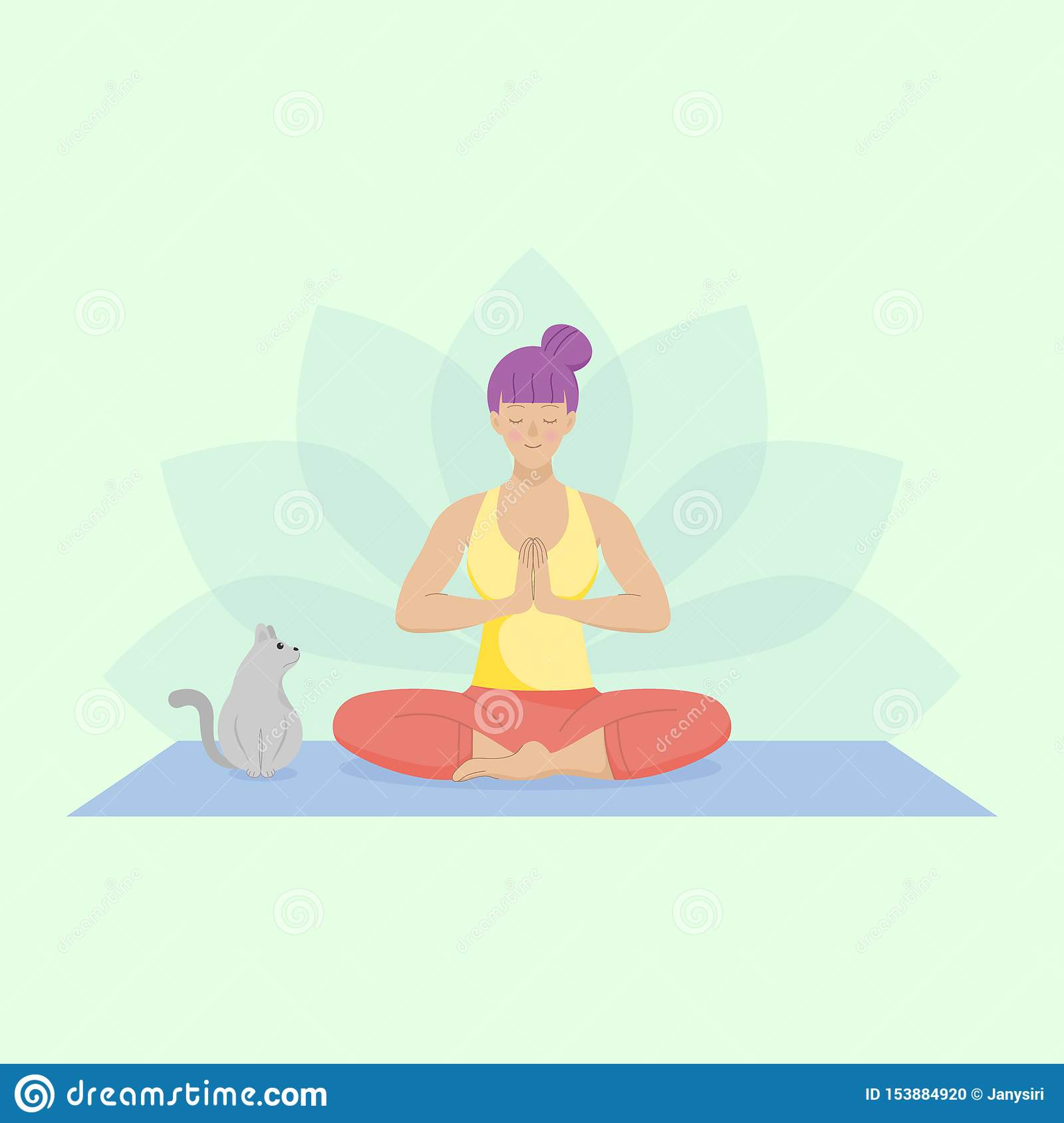 Flat woman practicing easy yoga. Sitting down on the mat with a cute cat.