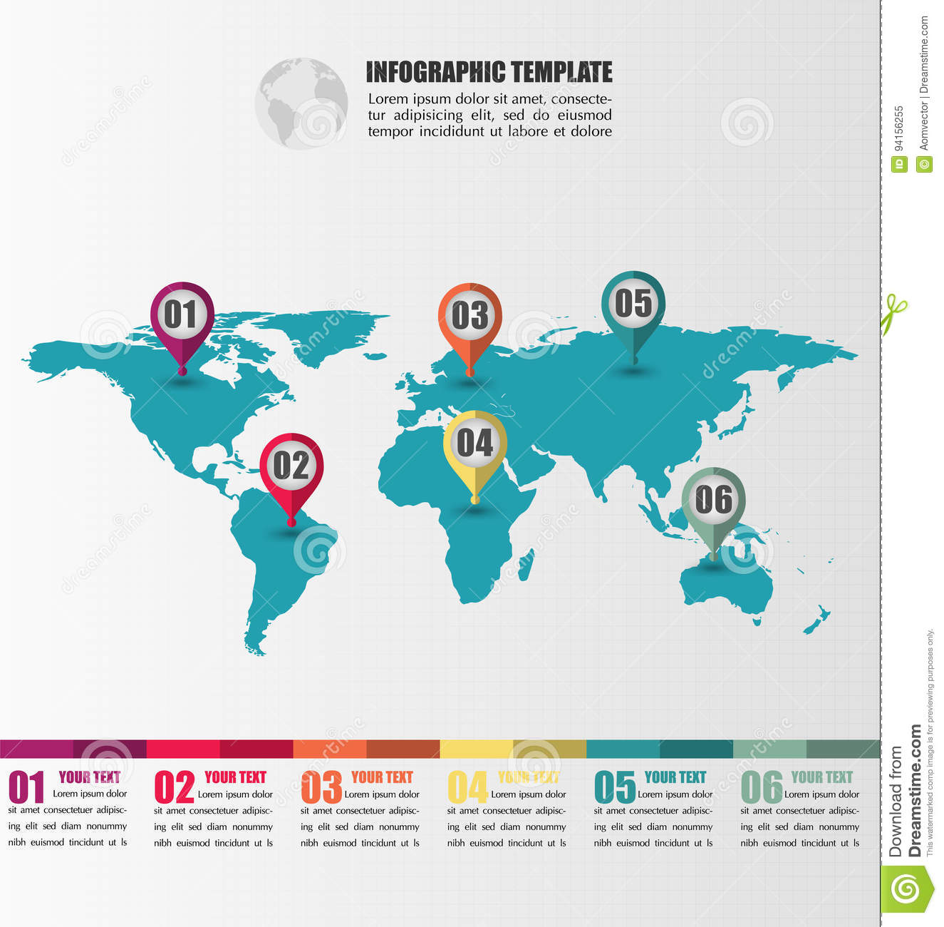 Flat world map infographic template with number pointer marks stock download comp gumiabroncs Images