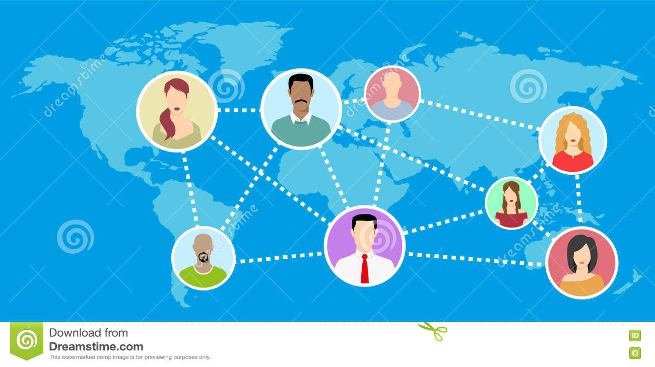 Flat world map with networking avatar illustration stock flat world map with networking avatar illustration gumiabroncs Images