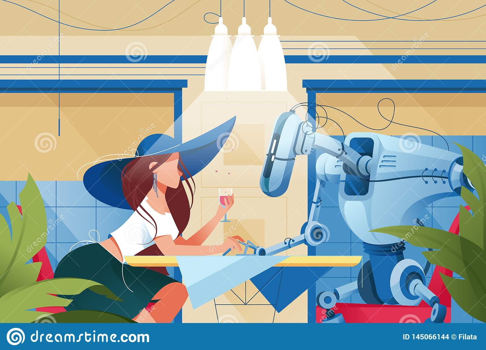 Flat young silhouette woman with hat and glass of wine on date with robot at restaurant.