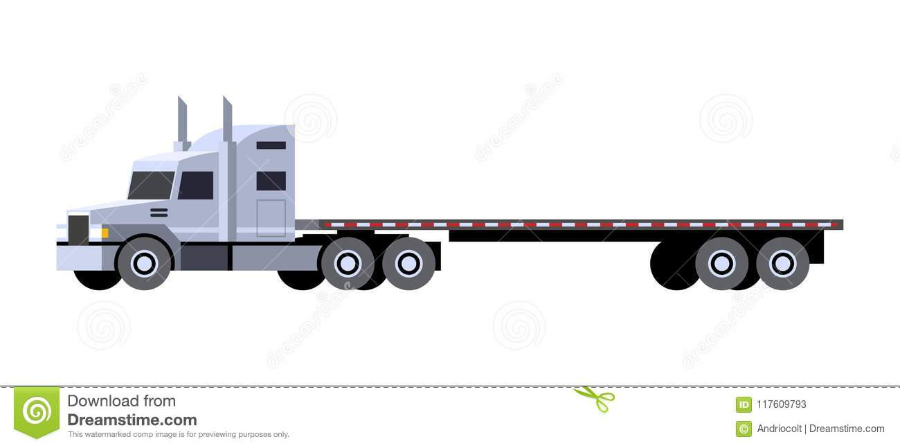 Minimalistic icon flatbed trailer tractor front side view semi trailer vehicle vector isolated illustration