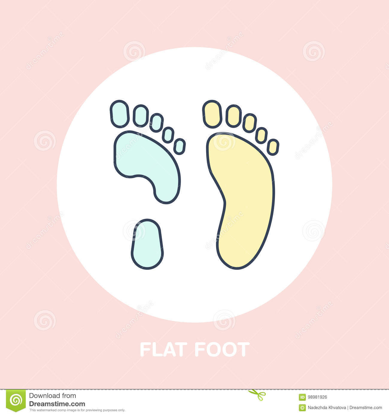 Flatfoot Icon, Line Logo  Flat Sign For Orthopedic Clinic Or Medical