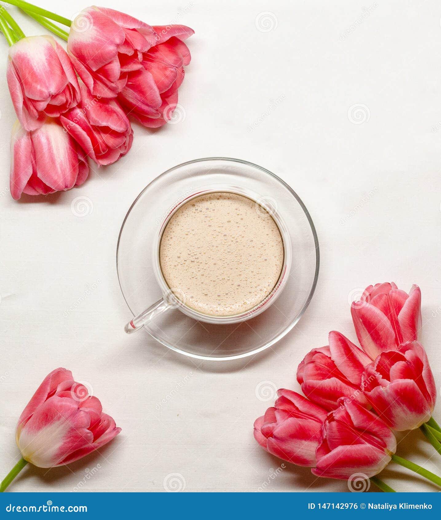 Flatlay med rosa tulpan och en kopp av kakao på en vit bakgrund