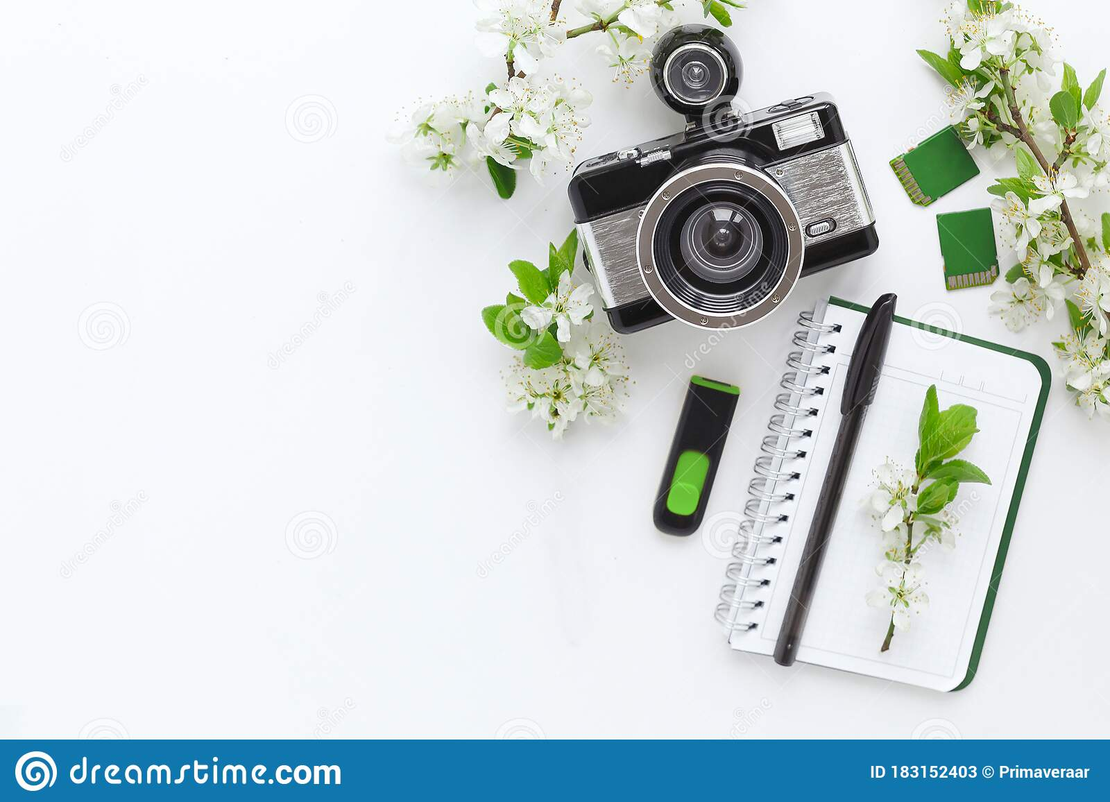 Flatlay On A White Background Camera, Notebook, Pen ...