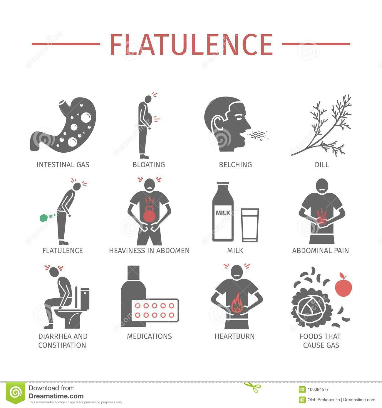 flatulence symptoms, treatment icons set vector signs stockflatulence symptoms, treatment icons set vector signs for web graphics