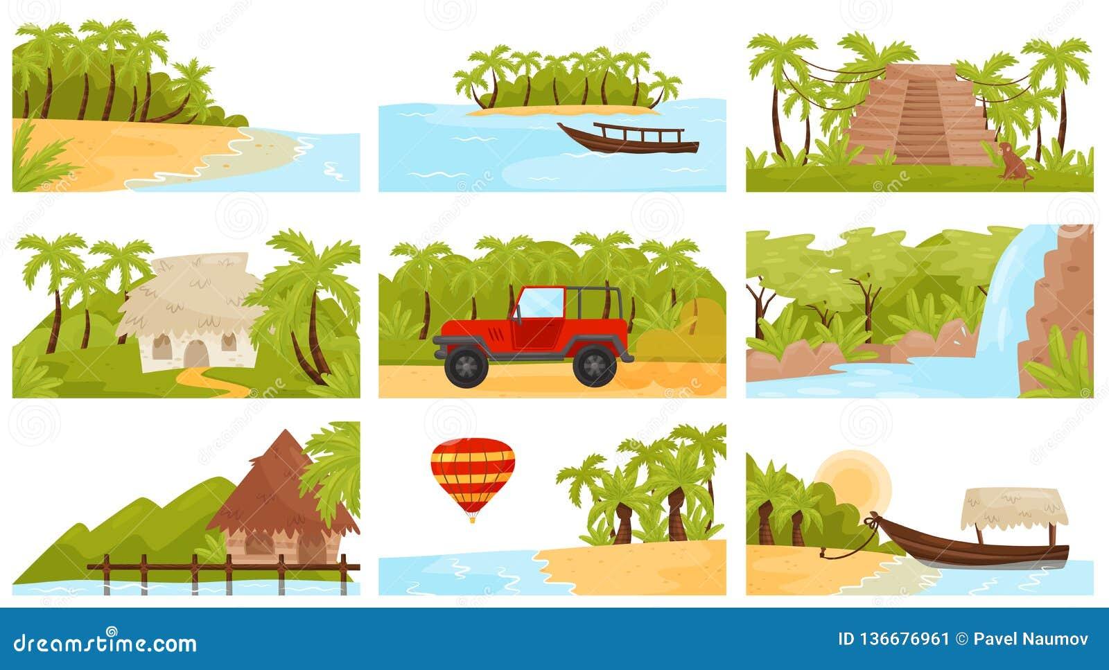 Flatv ector ustawiający kolorowi tropikalni krajobrazy Wyspa z drzewkami palmowymi, piaskowatą plażą, małymi bungalowami i siklaw