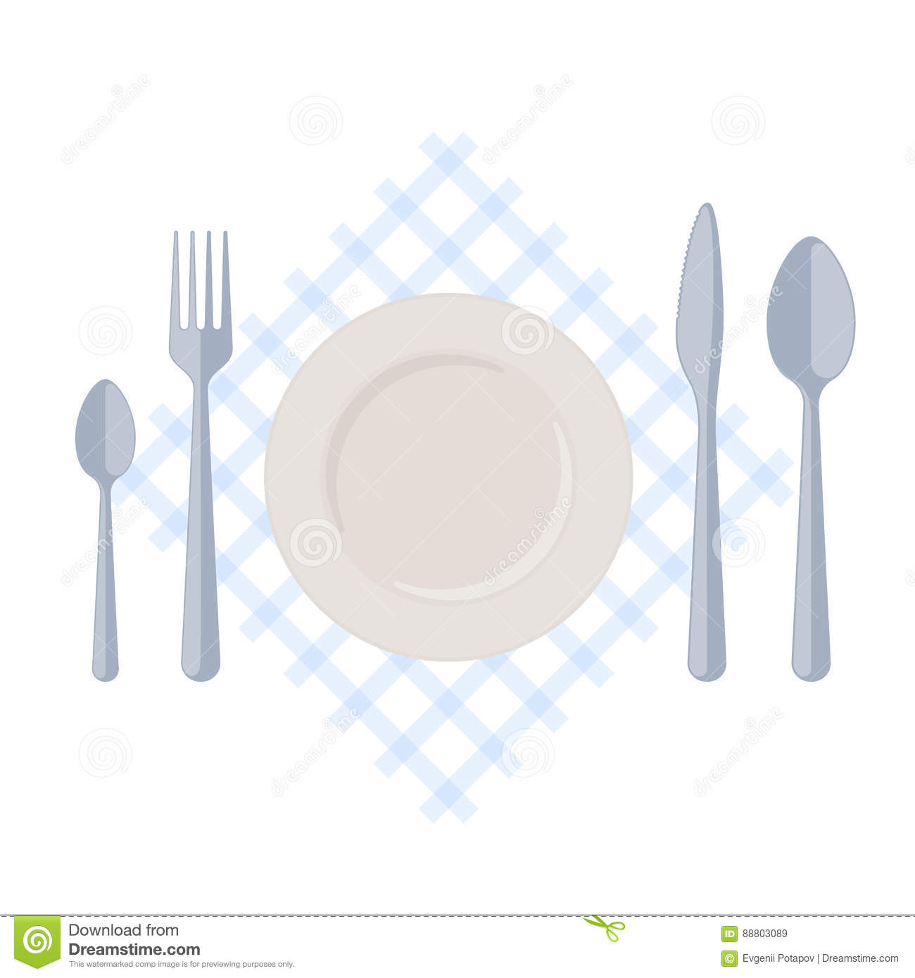 Flatware empty plate with fork spoons and knife on a for Table utensils