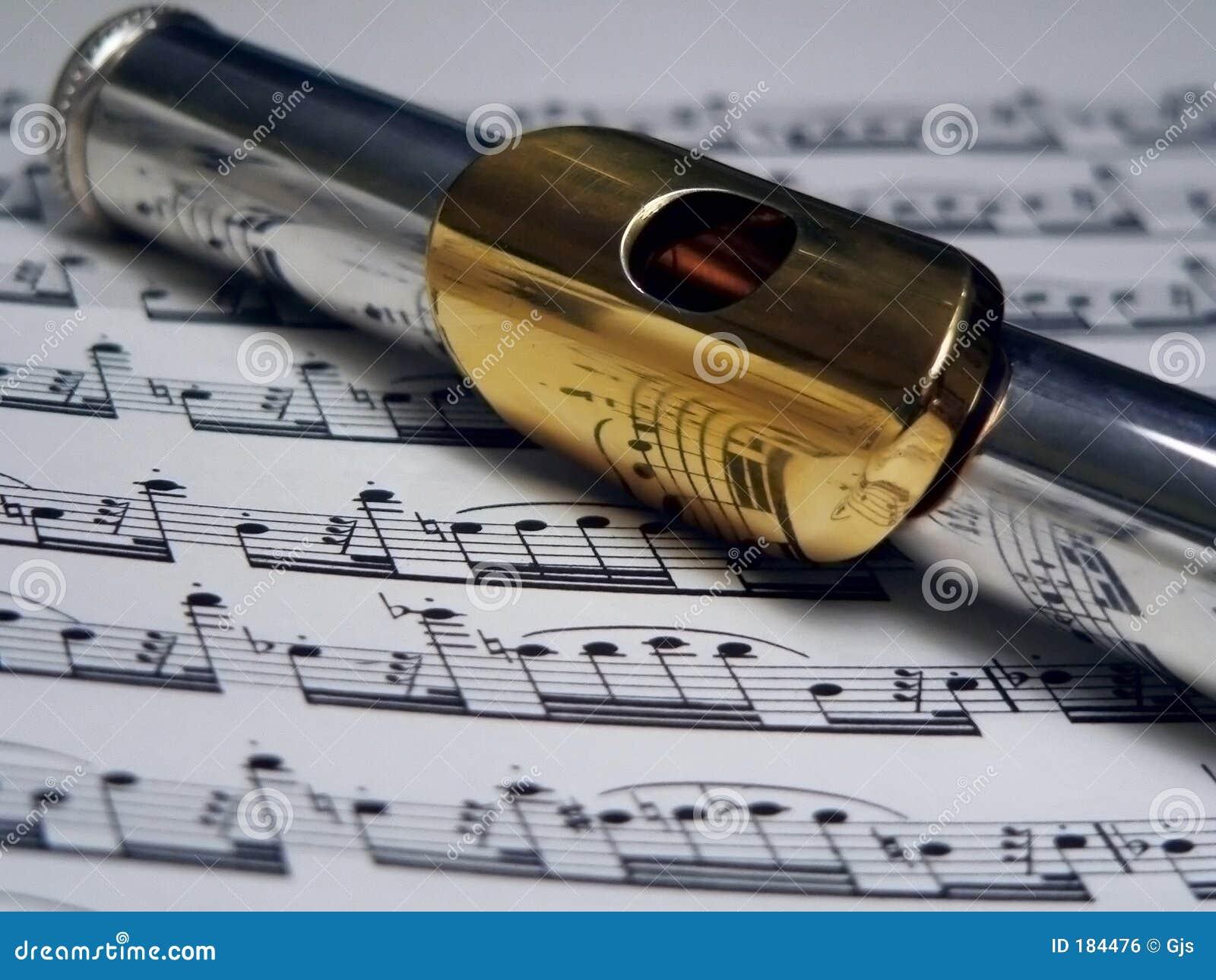 Flauta da prata e do ouro sobre a música de folha